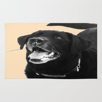 labrador Area & Throw Rugs featuring Labrador Happy by Jennifer Warmuth Art And Design