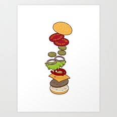 cheeseburger exploded Art Print