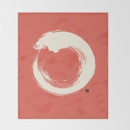 Red Enso / Japanese Zen Circle Throw Blanket