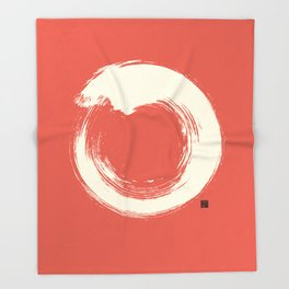 Red Enso / Japanese Zen Circle Throw Blanket