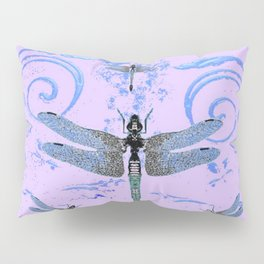 DELICATE BLUE & LILAC DRAGONFLIES ABSTRACT ART Pillow Sham