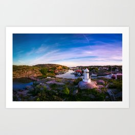 Sunset over old fishing port - Aerial Photography Art Print