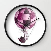 baloon Wall Clocks featuring Rabbit on pink baloon by My moony mom