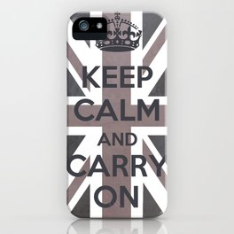Keep Calm and Carry On UK - Purple/Grey iPhone Case