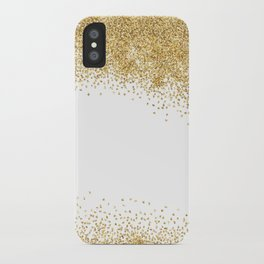 Sparkling golden glitter confetti effect iPhone Case