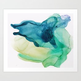 Mint Green Teal Blue Abstract, Hunting II Art Print