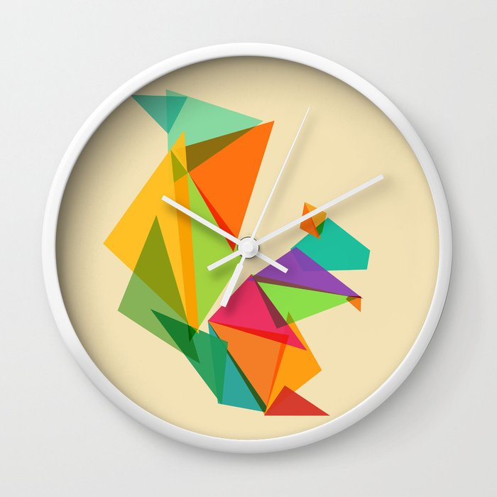 Fractal geometric Squirrel Wall Clock by budikwan | Society6