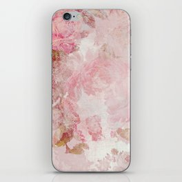 Vintage Floral Rose Roses painterly pattern in pink iPhone Skin