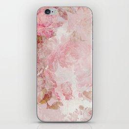Vintage Floral Rose Roses painterly pattern in pink iPhone Skin