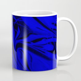 Black and Blue Swirl - Abstract, blue and black mixed paint pattern texture Coffee Mug