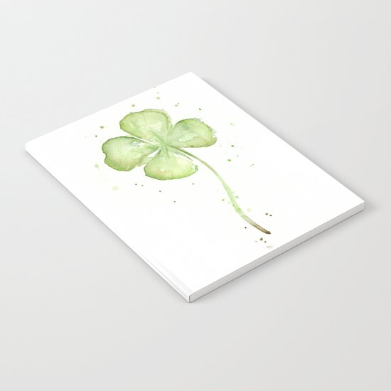 Clover Four Leaf Lucky Charm Green Clovers Notebook