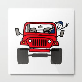 Jeep Wave Boy - Red Metal Print
