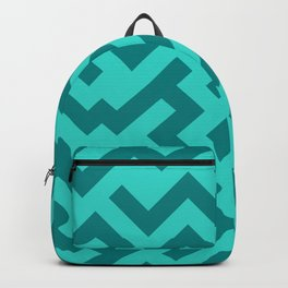 Teal and Turquoise Diagonal Labyrinth Backpack