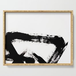 Brushstroke [8] - a simple, abstract, black and white india ink piece Serving Tray