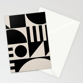 Mid Century Modern Geometric Abstract 936 Black and Linen White Stationery Cards