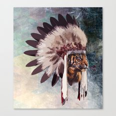 Tiger in war bonnet Canvas Print
