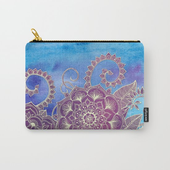 Magnolia & Magenta Floral on Watercolor Carry-All Pouch