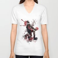 lebron V-neck T-shirts featuring LeBron 6 by Asta Dagmar