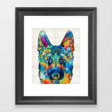 Colorful German Shepherd Dog Art By Sharon Cummings Framed Art Print
