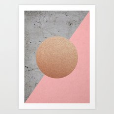 Abstract Shapes Rose Gold Art Print