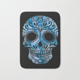 Blue Lace Sugar Skull Bath Mat