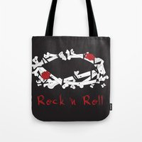 rock n roll Tote Bags featuring Rock 'N Roll by Estaschia Cossadianos