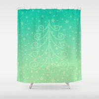 christmas tree Shower Curtains featuring (Christmas)tree by Mr & Mrs Quirynen