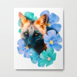 Flowers - Fox (Digital Drawing) Metal Print
