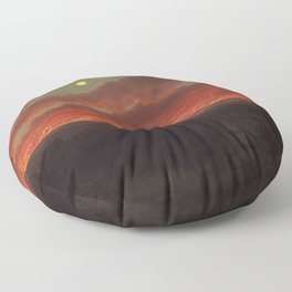 Wild fire between Mount Elephant and Timboon by Eugene von Guerard Floor Pillow