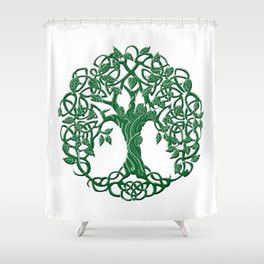 Tree of life green Shower Curtain