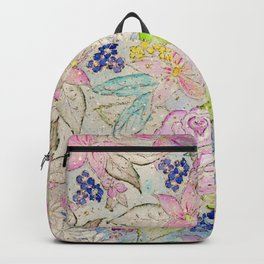 Watercolor and gold floral hand paint design Backpack