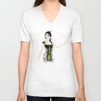 angel V-neck T-shirts featuring Angel by Melissa Smith