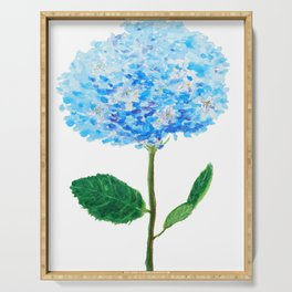 abstract blue hydrangea watercolor Serving Tray