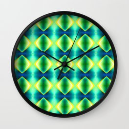 Green Yellow Geometric Metallic Diamond Pattern Wall Clock