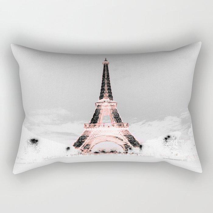 pariS Black & White + Pink Rectangular Pillow