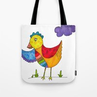 "chicken Tote Bags featuring ""Chicken""  by Holly Lynn Clark"