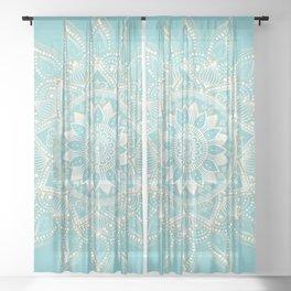 Elegant White Gold Mandala Sky Blue Design Sheer Curtain