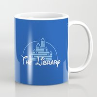 library Mugs featuring The Library  by bookwormboutique
