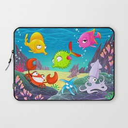 Funny happy animals under the sea. Laptop Sleeve