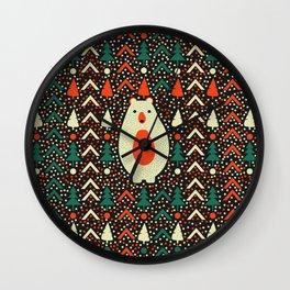 Bear, dots and Christmas trees Wall Clock