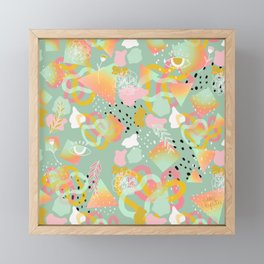 Rainbow Prism Candy Abstract Pattern Mint  Framed Mini Art Print