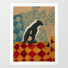 Dog on a tile floor Art Print