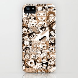 Ahegao Hentai Girls Anime Manga Collage Sepia Tinted iPhone Case