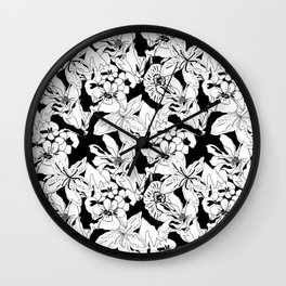 Black and White Flora Wallpaper Wall Clock