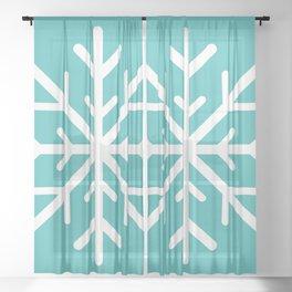 Snowflake (White & Teal) Sheer Curtain
