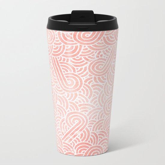 Rose quartz and white swirls doodles Metal Travel Mug