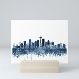 Seattle Skyline Watercolor Navy Blue by Zouzounio Art Mini Art Print