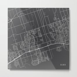 Ajax Map, Canada - Gray Metal Print