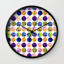 Hand painted neon colors watercolor moon planet Wall Clock