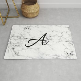 Letter A on Marble texture Initial personalized monogram Rug